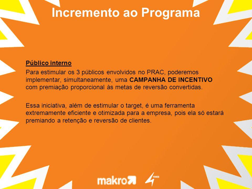 Público interno Para estimular os 3 públicos envolvidos no PRAC, poderemos implementar, simultaneamente, uma CAMPANHA DE INCENTIVO com premiação proporcional às metas de reversão convertidas.