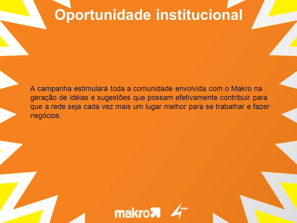 A campanha estimulará toda a comunidade envolvida com o Makro na geração de idéias e sugestões que possam efetivamente contribuir para que a rede seja cada vez mais um lugar melhor para se trabalhar e fazer negócios.