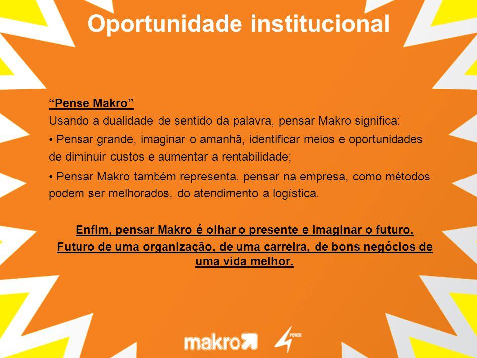 Pense Makro Usando a dualidade de sentido da palavra, pensar Makro significa: Pensar grande, imaginar o amanhã, identificar meios e oportunidades de diminuir custos e aumentar a rentabilidade; Pensar Makro também representa, pensar na empresa, como métodos podem ser melhorados, do atendimento a logística.