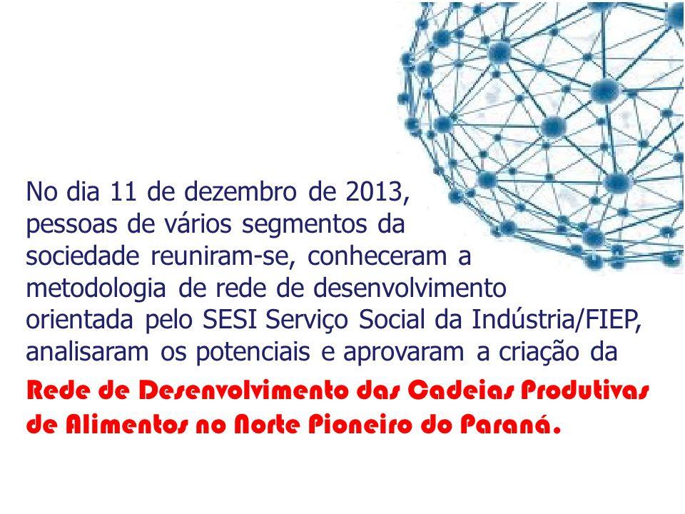 Criada em 11 de dezembro de 2013 Rede de Desenvolvimento das Cadeias Produtivas de Alimentos no Norte Pioneiro do Paraná