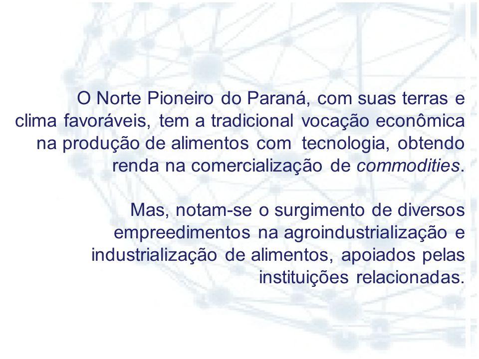 O Norte Pioneiro do Paraná, com suas terras e clima favoráveis, tem a tradicional vocação econômica na produção de alimentos com tecnologia, obtendo renda na comercialização de commodities.