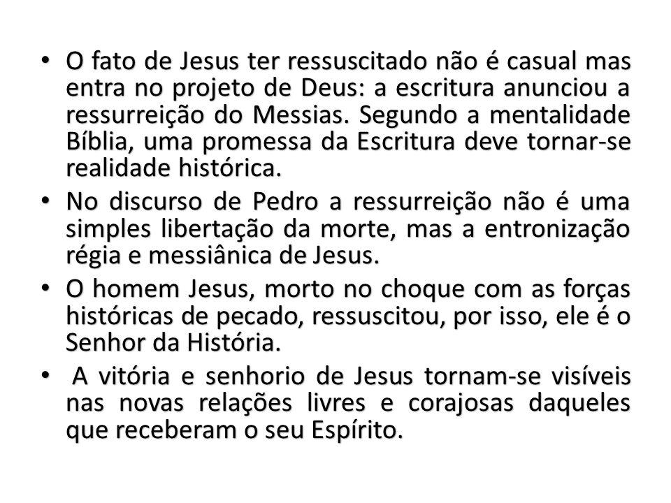 O fato de Jesus ter ressuscitado não é casual mas entra no projeto de Deus: a escritura anunciou a ressurreição do Messias.