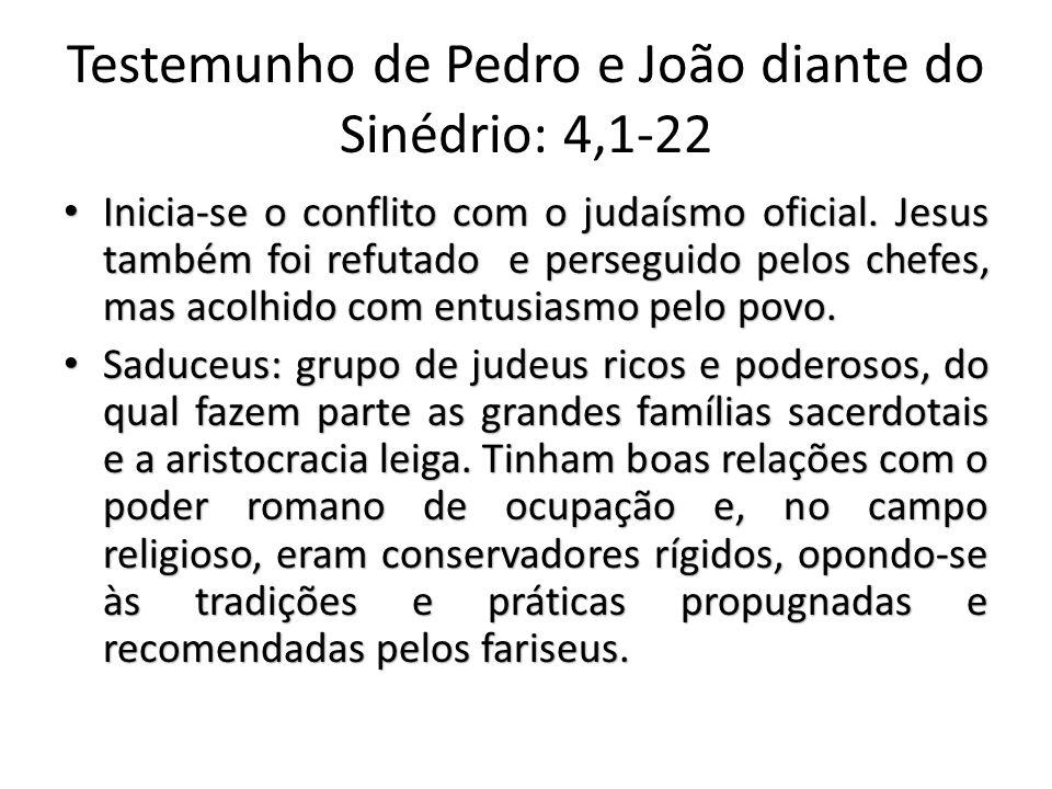 Testemunho de Pedro e João diante do Sinédrio: 4,1-22 Inicia-se o conflito com o judaísmo oficial.