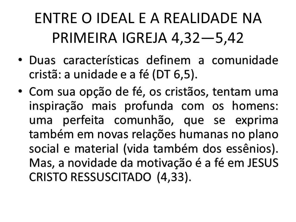ENTRE O IDEAL E A REALIDADE NA PRIMEIRA IGREJA 4,325,42 Duas características definem a comunidade cristã: a unidade e a fé (DT 6,5).