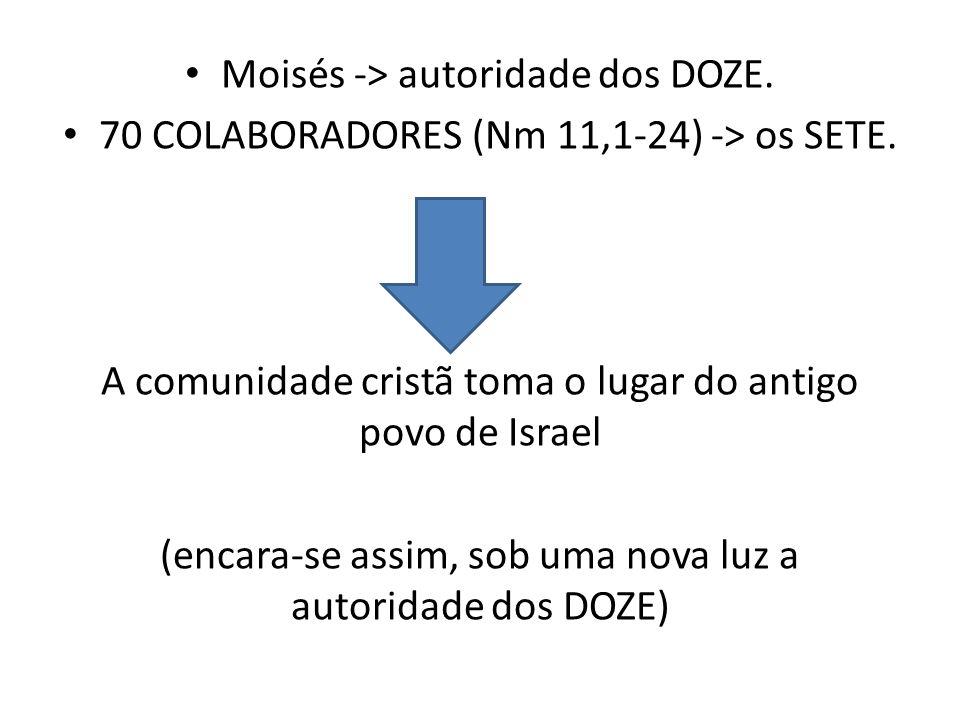 Moisés -> autoridade dos DOZE.70 COLABORADORES (Nm 11,1-24) -> os SETE.