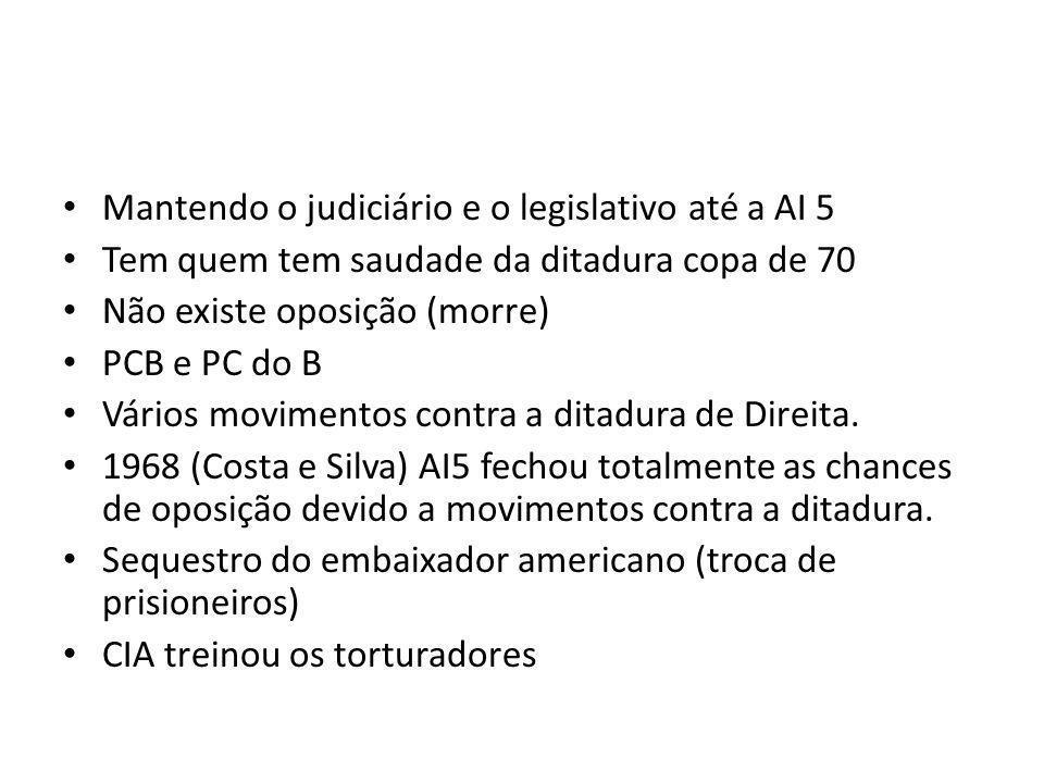 Mantendo o judiciário e o legislativo até a AI 5 Tem quem tem saudade da ditadura copa de 70 Não existe oposição (morre) PCB e PC do B Vários movimentos contra a ditadura de Direita.