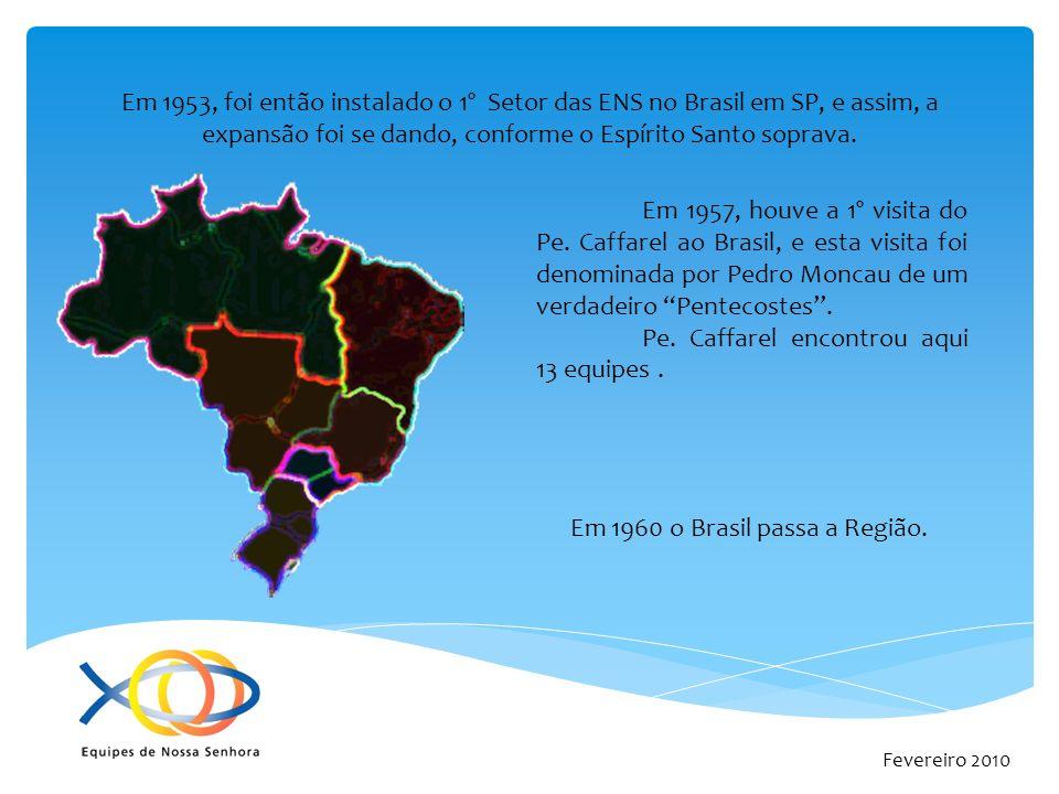 Fevereiro 2010 Em 1953, foi então instalado o 1º Setor das ENS no Brasil em SP, e assim, a expansão foi se dando, conforme o Espírito Santo soprava. E