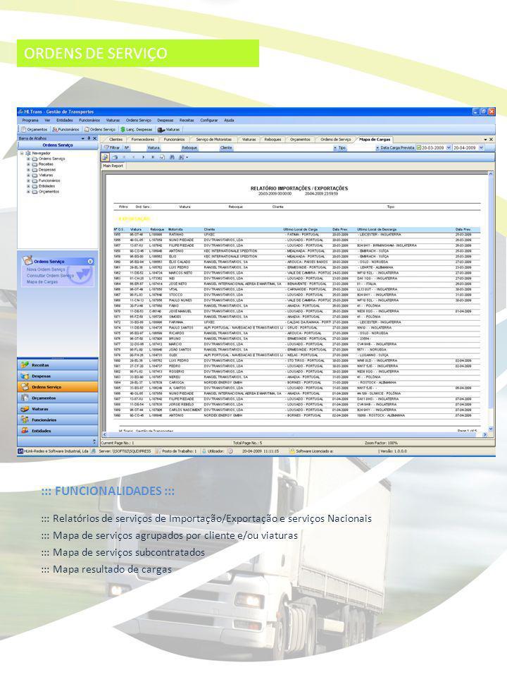 ORDENS DE SERVIÇO ::: FUNCIONALIDADES ::: ::: Relatórios de serviços de Importação/Exportação e serviços Nacionais ::: Mapa de serviços agrupados por