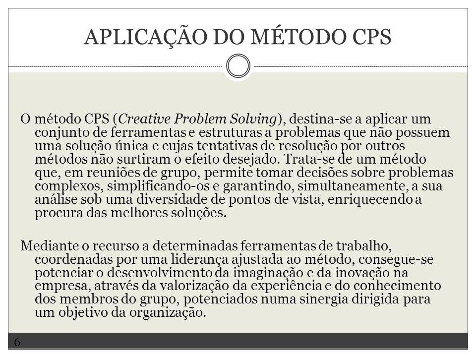 APLICAÇÃO DO MÉTODO CPS O método CPS (Creative Problem Solving), destina-se a aplicar um conjunto de ferramentas e estruturas a problemas que não poss