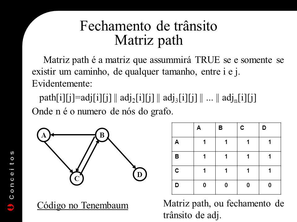 Matriz path é a matriz que assummirá TRUE se e somente se existir um caminho, de qualquer tamanho, entre i e j. Evidentemente: path[i][j]=adj[i][j] ||