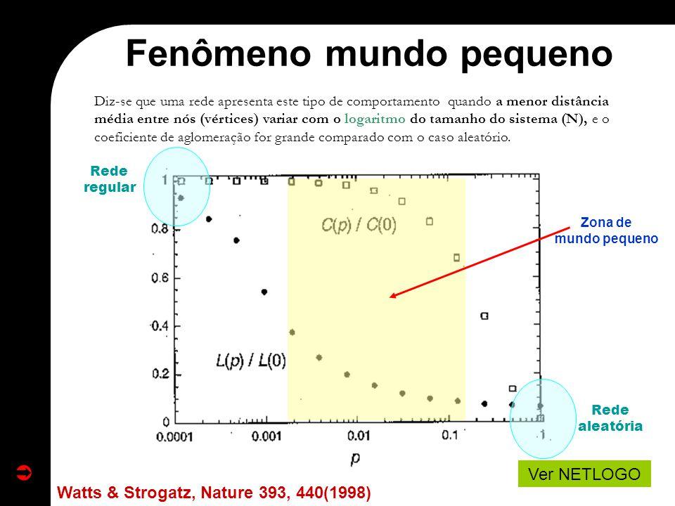 Diz-se que uma rede apresenta este tipo de comportamento quando a menor distância média entre nós (vértices) variar com o logaritmo do tamanho do sist