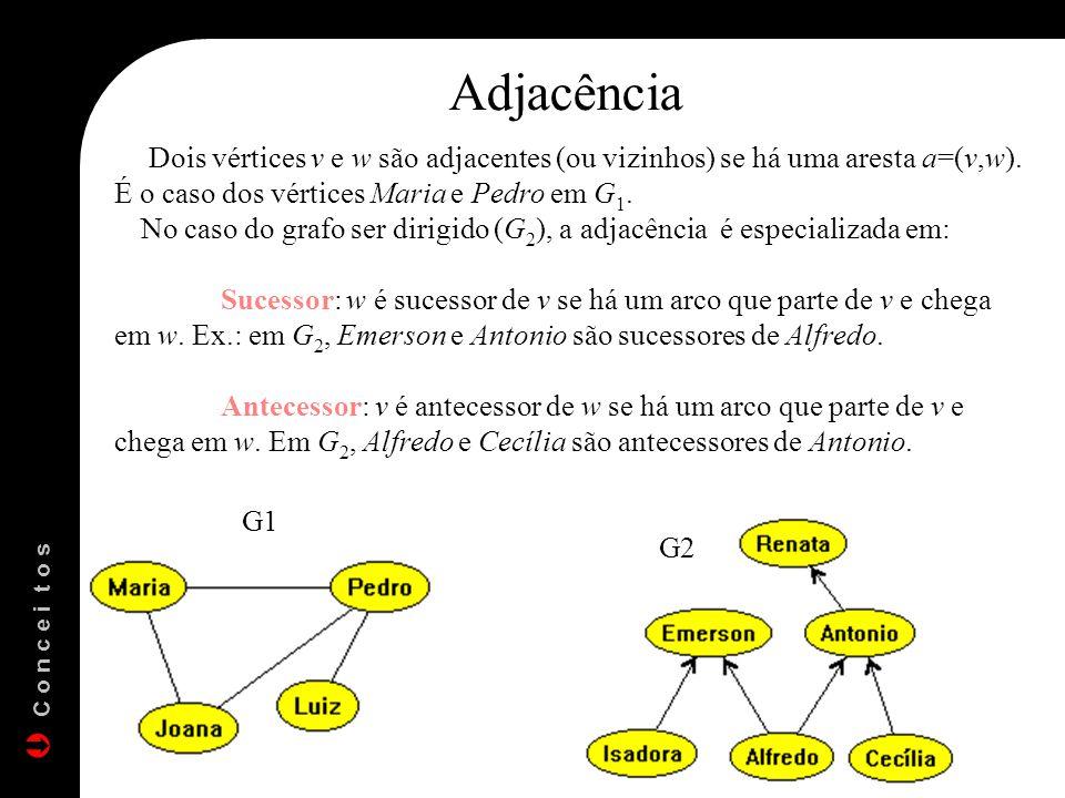 Adjacência Dois vértices v e w são adjacentes (ou vizinhos) se há uma aresta a=(v,w). É o caso dos vértices Maria e Pedro em G 1. No caso do grafo ser