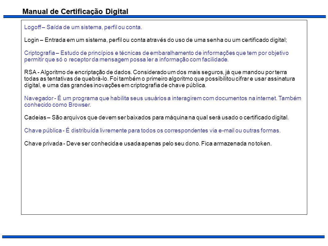Manual de Certificação Digital Logoff – Saída de um sistema, perfil ou conta. Login – Entrada em um sistema, perfil ou conta através do uso de uma sen