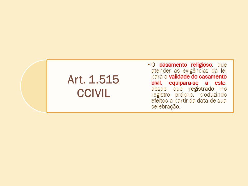 Art. 1.515 CCIVIL O casamento religioso, que atender às exigências da lei para a validade do casamento civil, equipara-se a este, desde que registrado
