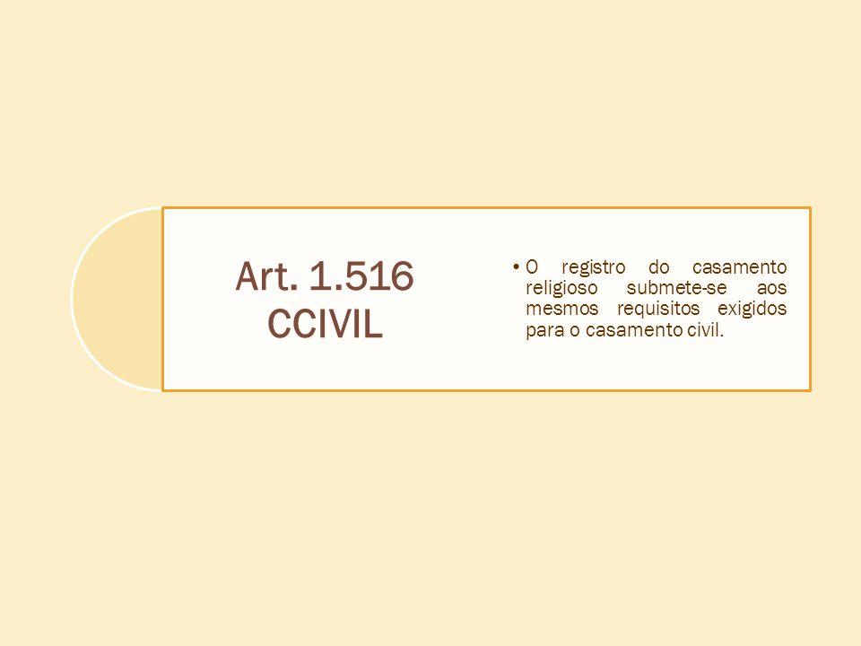 Art. 1.516 CCIVIL O registro do casamento religioso submete-se aos mesmos requisitos exigidos para o casamento civil.