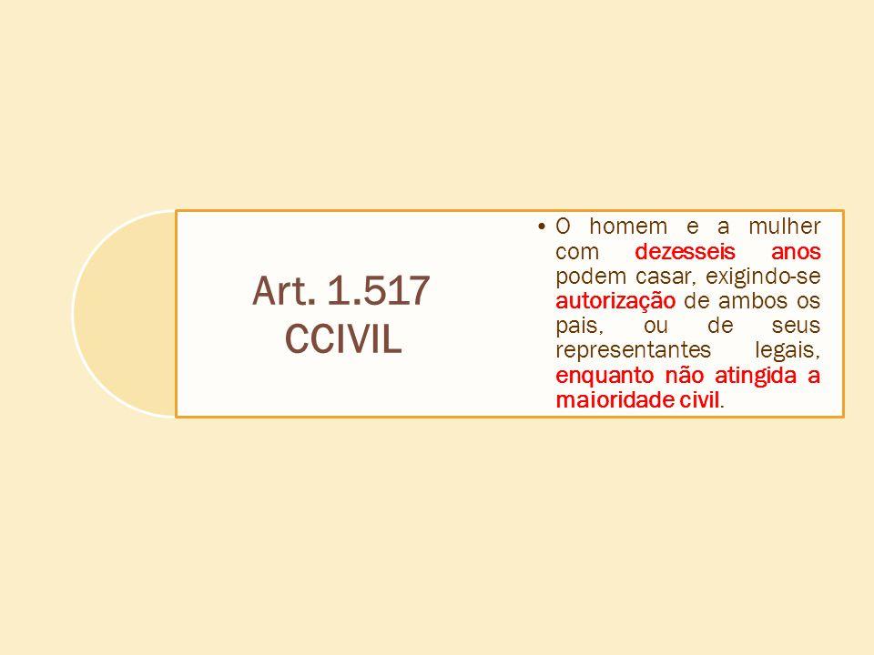 Art. 1.517 CCIVIL O homem e a mulher com dezesseis anos podem casar, exigindo-se autorização de ambos os pais, ou de seus representantes legais, enqua