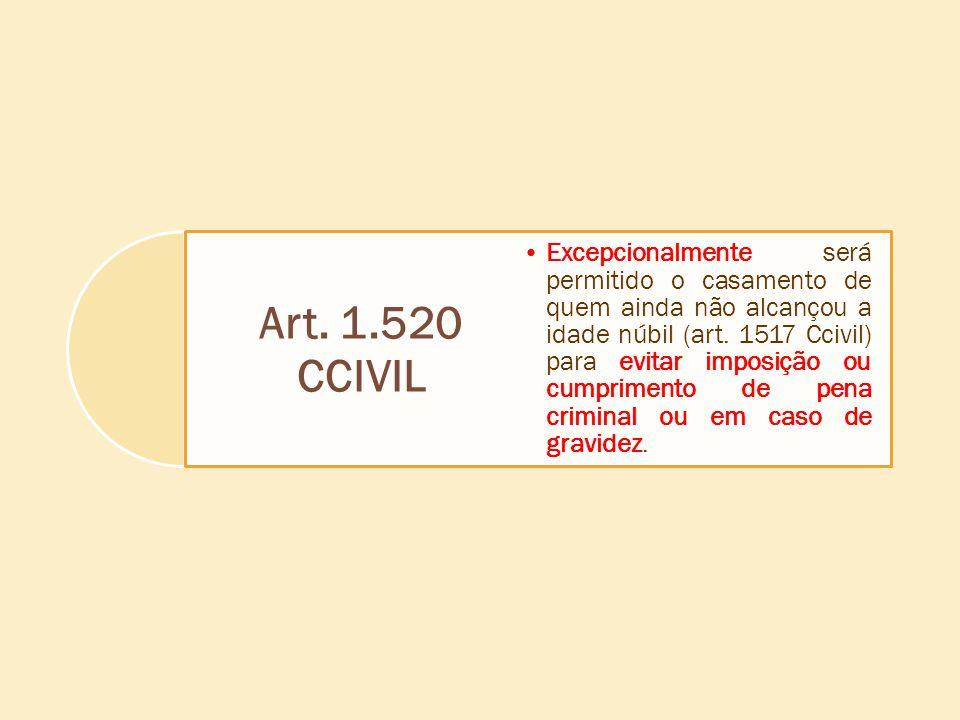 Art. 1.520 CCIVIL Excepcionalmente será permitido o casamento de quem ainda não alcançou a idade núbil (art. 1517 Ccivil) para evitar imposição ou cum