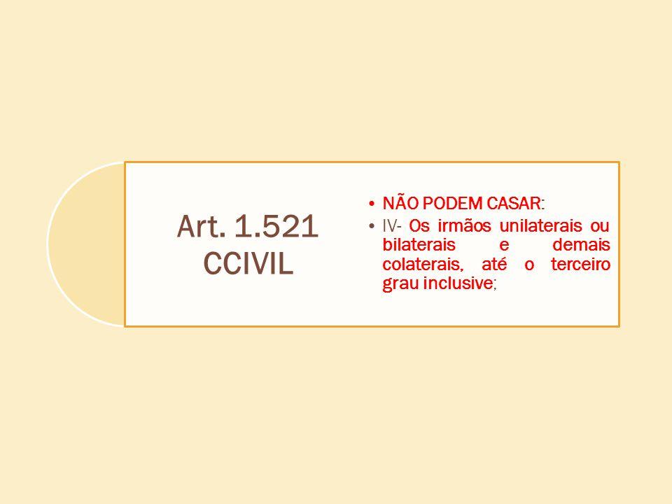 Art. 1.521 CCIVIL NÃO PODEM CASAR: IV- Os irmãos unilaterais ou bilaterais e demais colaterais, até o terceiro grau inclusive;