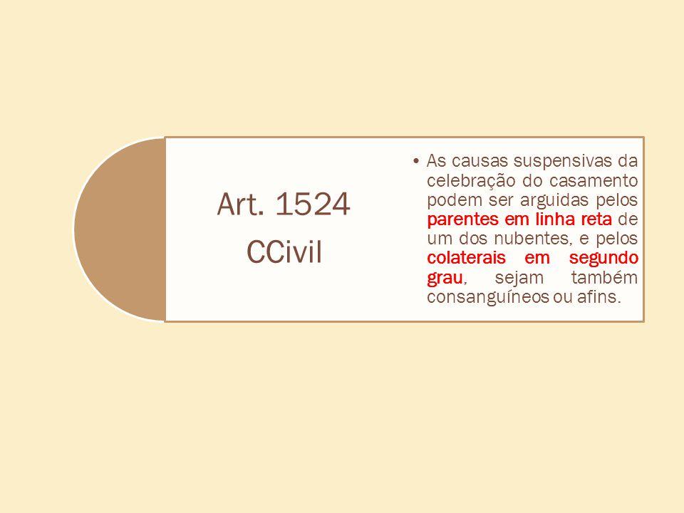 Art. 1524 CCivil As causas suspensivas da celebração do casamento podem ser arguidas pelos parentes em linha reta de um dos nubentes, e pelos colatera