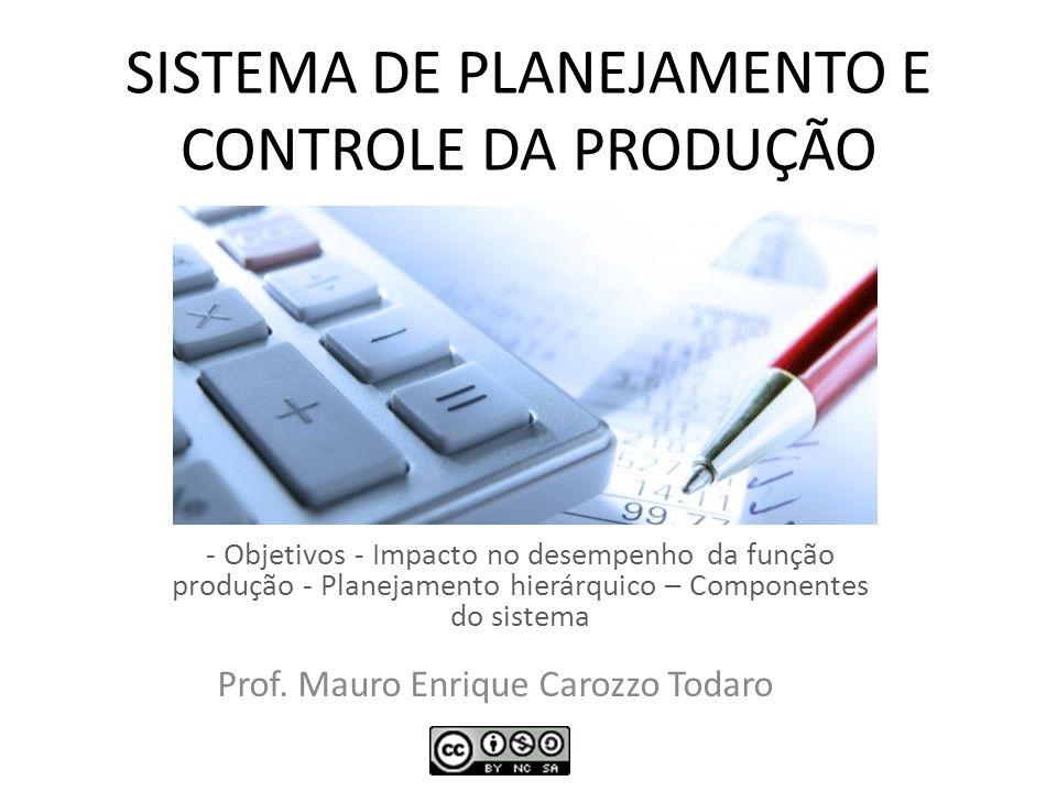 SISTEMA DE PLANEJAMENTO E CONTROLE DA PRODUÇÃO - Objetivos - Impacto no desempenho da função produção - Planejamento hierárquico – Componentes do sist
