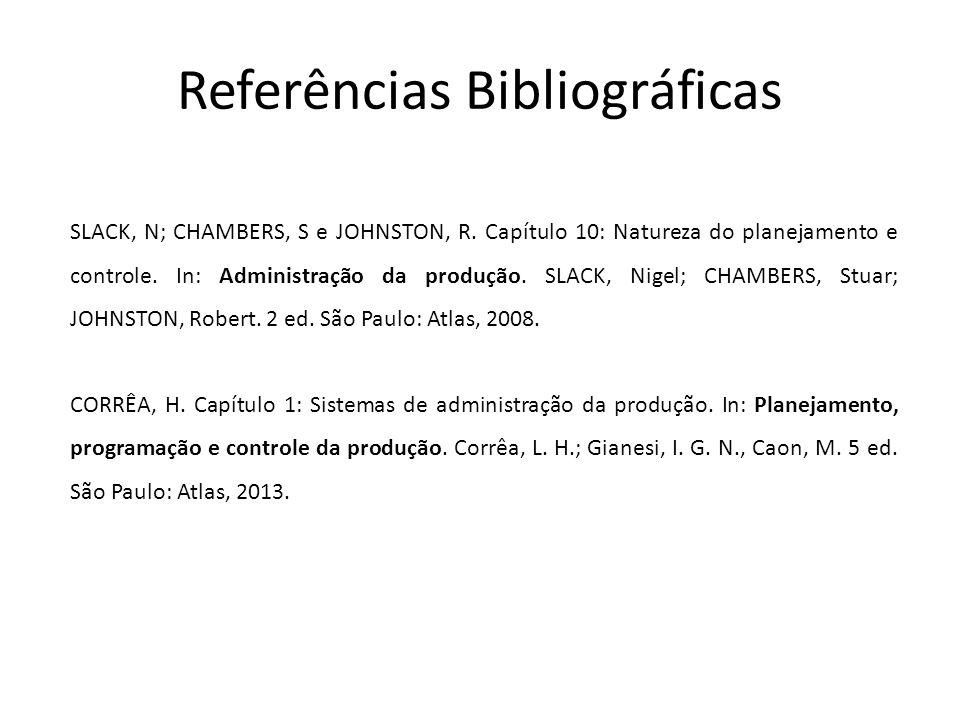 Referências Bibliográficas SLACK, N; CHAMBERS, S e JOHNSTON, R. Capítulo 10: Natureza do planejamento e controle. In: Administração da produção. SLACK