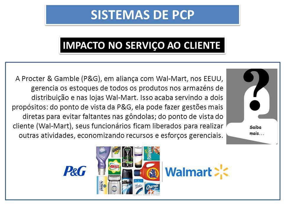 SISTEMAS DE PCP IMPACTO NO SERVIÇO AO CLIENTE A Procter & Gamble (P&G), em aliança com Wal-Mart, nos EEUU, gerencia os estoques de todos os produtos n