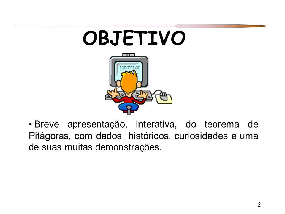 2 OBJETIVO Breve apresentação, interativa, do teorema de Pitágoras, com dados históricos, curiosidades e uma de suas muitas demonstrações.