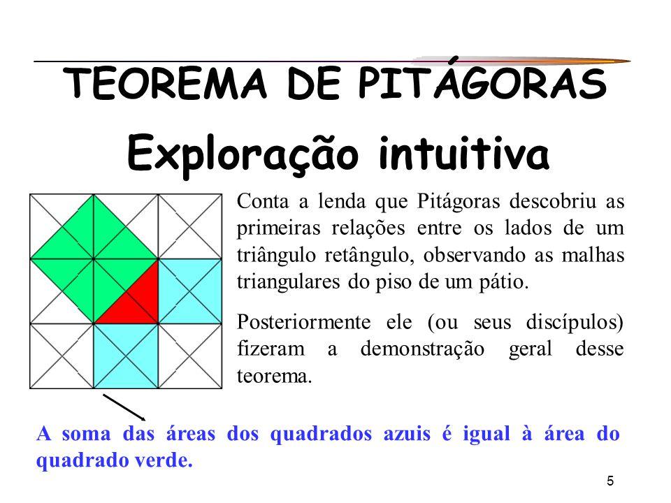 5 TEOREMA DE PITÁGORAS Exploração intuitiva Conta a lenda que Pitágoras descobriu as primeiras relações entre os lados de um triângulo retângulo, obse