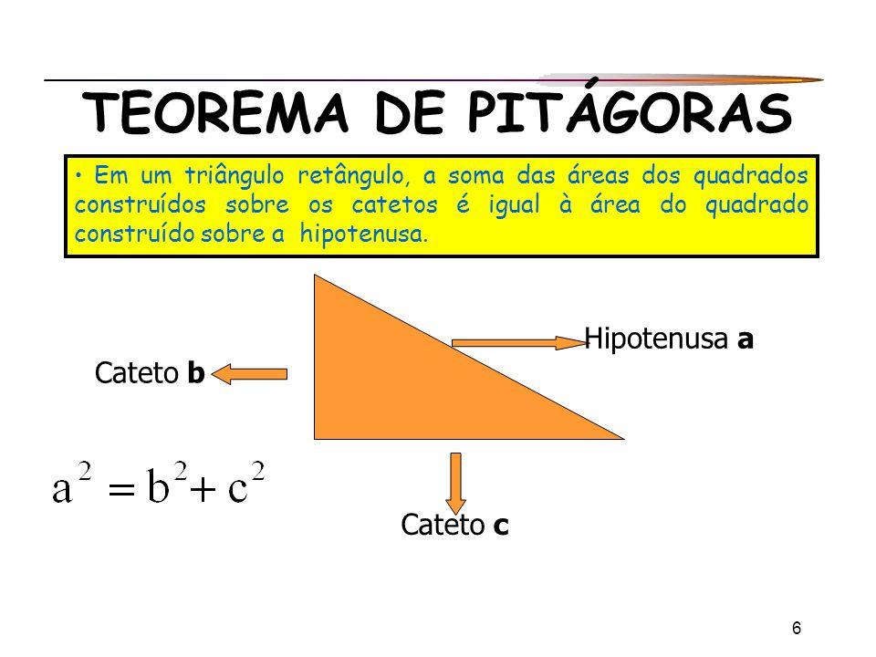 6 TEOREMA DE PITÁGORAS Em um triângulo retângulo, a soma das áreas dos quadrados construídos sobre os catetos é igual à área do quadrado construído so