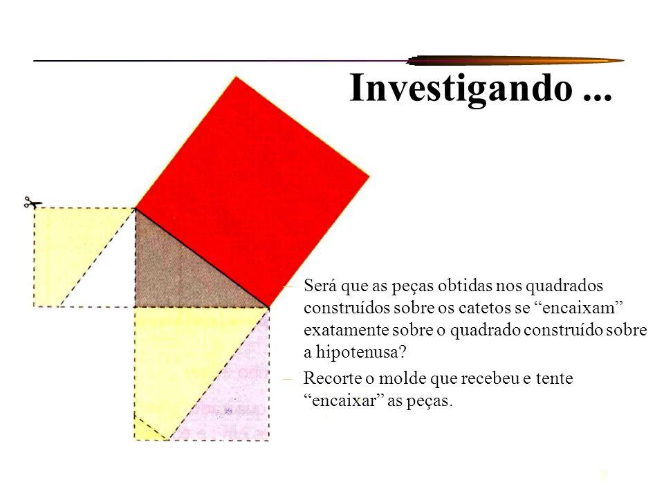 7 –Será que as peças obtidas nos quadrados construídos sobre os catetos se encaixam exatamente sobre o quadrado construído sobre a hipotenusa? –Recort