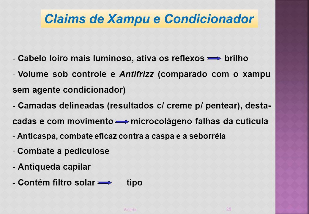 Valéria 25 - Cabelo loiro mais luminoso, ativa os reflexos brilho - Volume sob controle e Antifrizz (comparado com o xampu sem agente condicionador) - Camadas delineadas (resultados c/ creme p/ pentear), desta- cadas e com movimento microcolágeno falhas da cutícula - Anticaspa, combate eficaz contra a caspa e a seborréia - Combate a pediculose - Antiqueda capilar - Contém filtro solartipo Claims de Xampu e Condicionador