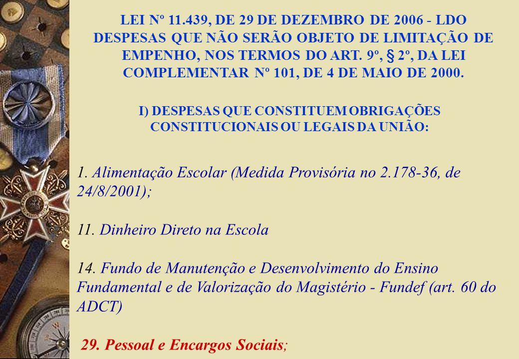 1. Alimentação Escolar (Medida Provisória no 2.178-36, de 24/8/2001); 11.