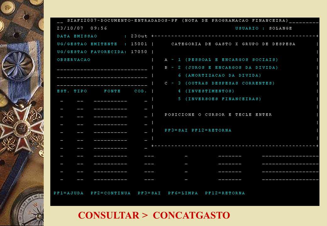 CONSULTAR > CONCATGASTO