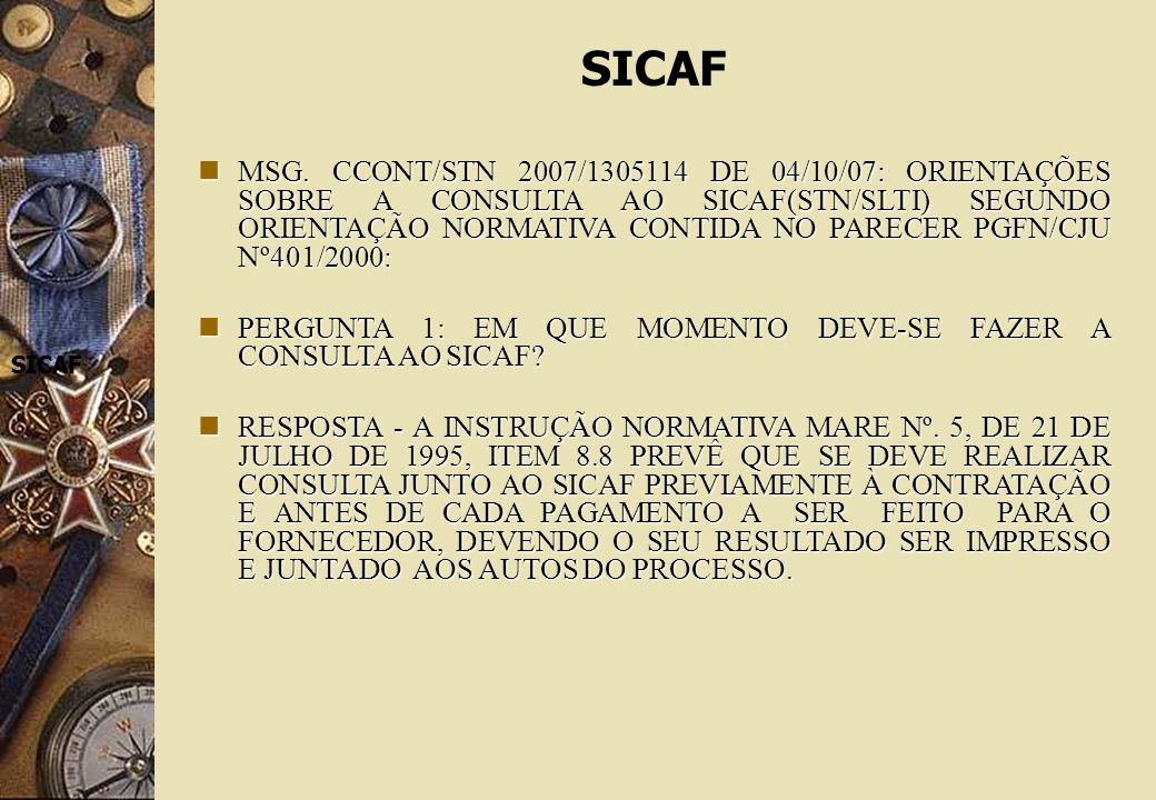 SICAF SICAF SICAF MSG.