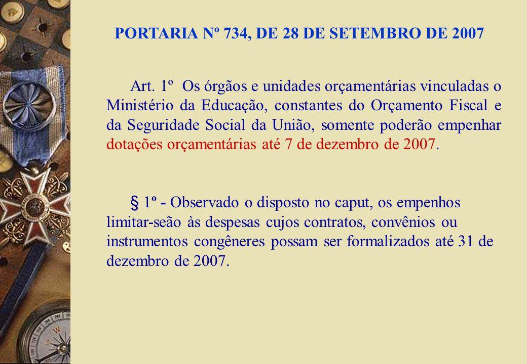 PORTARIA Nº 734, DE 28 DE SETEMBRO DE 2007 Art. 1º Os órgãos e unidades orçamentárias vinculadas o Ministério da Educação, constantes do Orçamento Fis