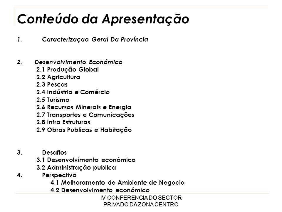 IV CONFERENCIA DO SECTOR PRIVADO DA ZONA CENTRO Conteúdo da Apresentação 1.Caracterizaçao Geral Da Província 2.