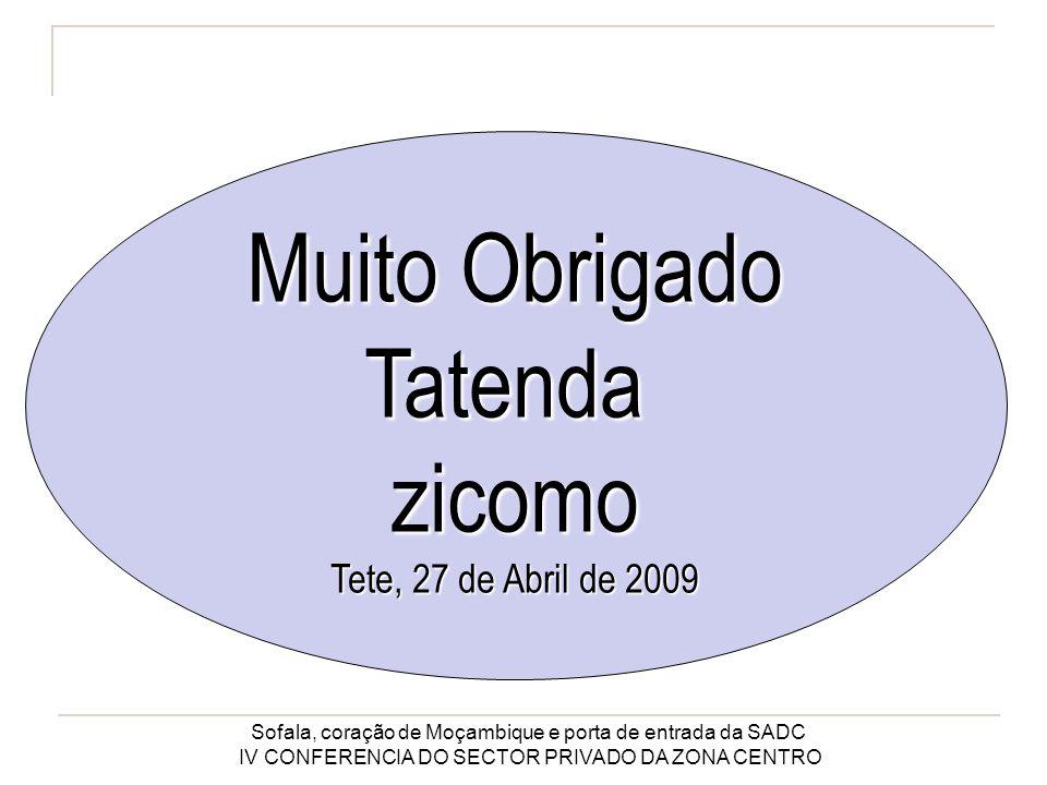 Sofala, coração de Moçambique e porta de entrada da SADC IV CONFERENCIA DO SECTOR PRIVADO DA ZONA CENTRO Muito Obrigado Tatendazicomo Tete, 27 de Abril de 2009