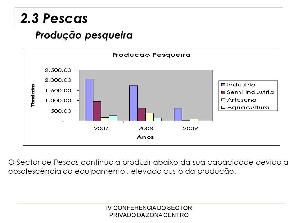 IV CONFERENCIA DO SECTOR PRIVADO DA ZONA CENTRO 2.3 Pescas Produção pesqueira O Sector de Pescas continua a produzir abaixo da sua capacidade devido a obsolescência do equipamento, elevado custo da produção.