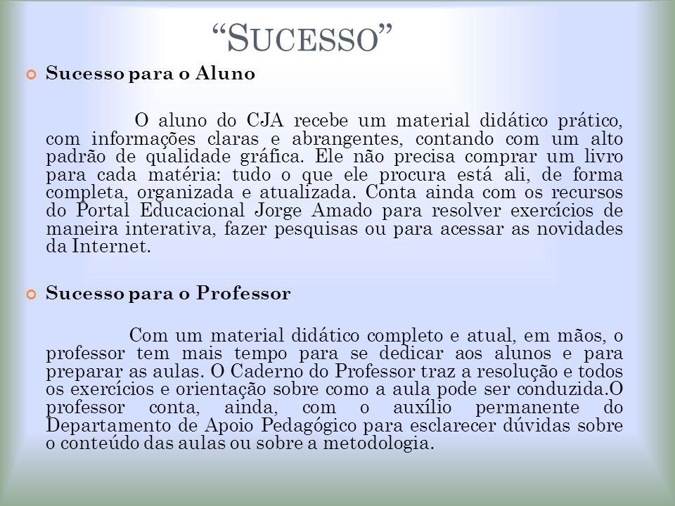 S UCESSO Sucesso para o Aluno O aluno do CJA recebe um material didático prático, com informações claras e abrangentes, contando com um alto padrão de