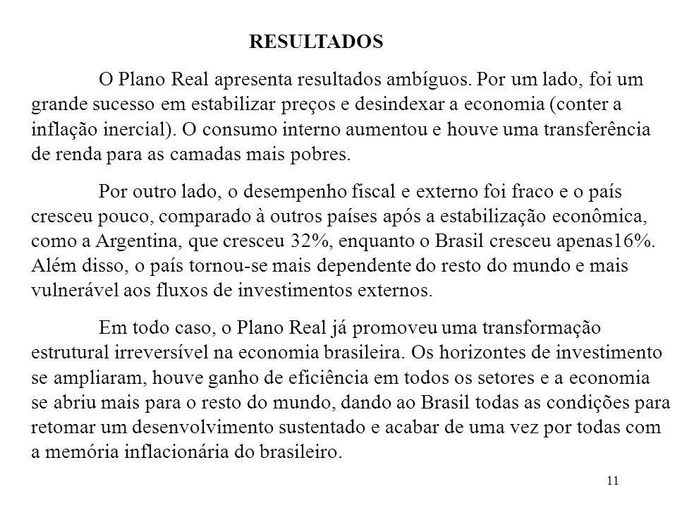11 RESULTADOS O Plano Real apresenta resultados ambíguos. Por um lado, foi um grande sucesso em estabilizar preços e desindexar a economia (conter a i