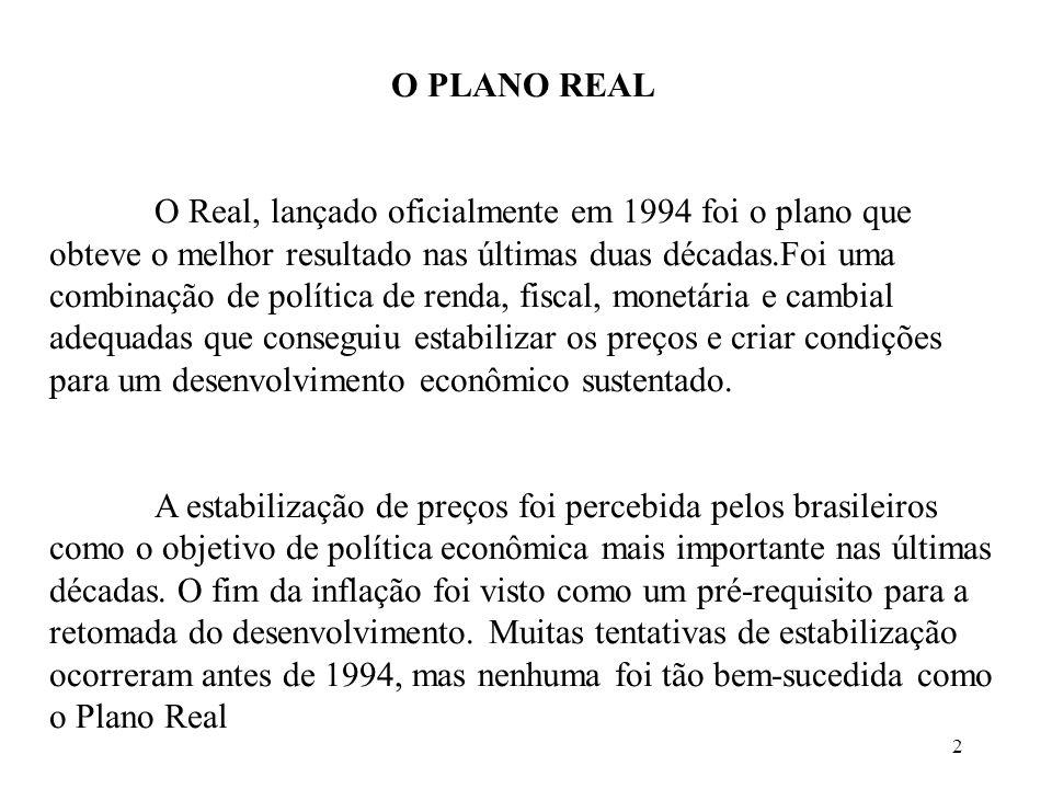 2 O PLANO REAL O Real, lançado oficialmente em 1994 foi o plano que obteve o melhor resultado nas últimas duas décadas.Foi uma combinação de política