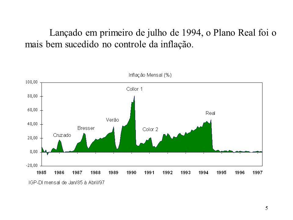 5 Lançado em primeiro de julho de 1994, o Plano Real foi o mais bem sucedido no controle da inflação.