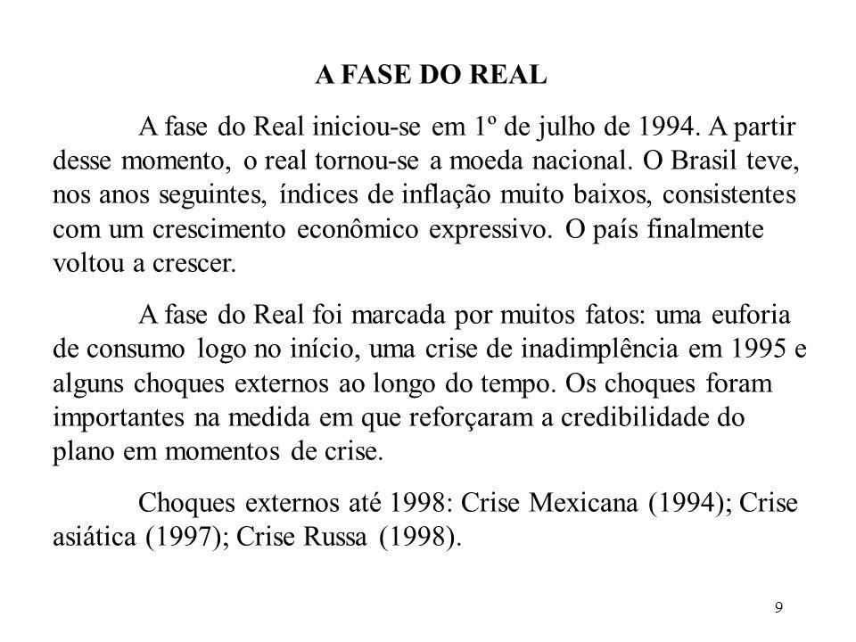 9 A FASE DO REAL A fase do Real iniciou-se em 1º de julho de 1994. A partir desse momento, o real tornou-se a moeda nacional. O Brasil teve, nos anos