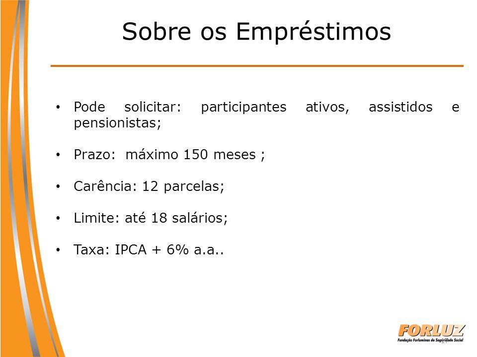 17 Pode solicitar: participantes ativos, assistidos e pensionistas; Prazo: máximo 150 meses ; Carência: 12 parcelas; Limite: até 18 salários; Taxa: IP