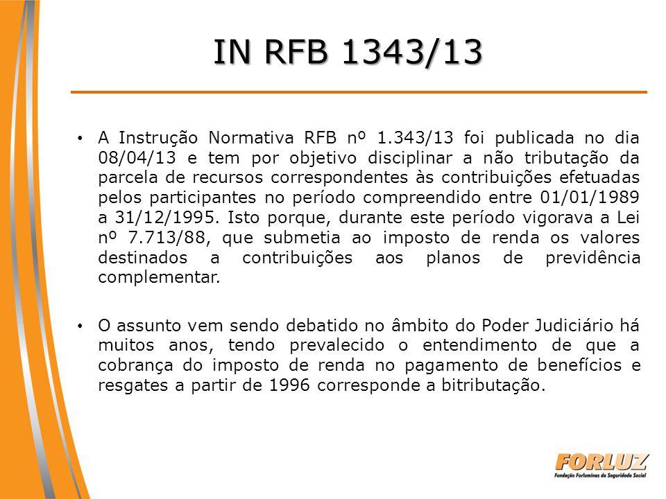 A Instrução Normativa RFB nº 1.343/13 foi publicada no dia 08/04/13 e tem por objetivo disciplinar a não tributação da parcela de recursos corresponde