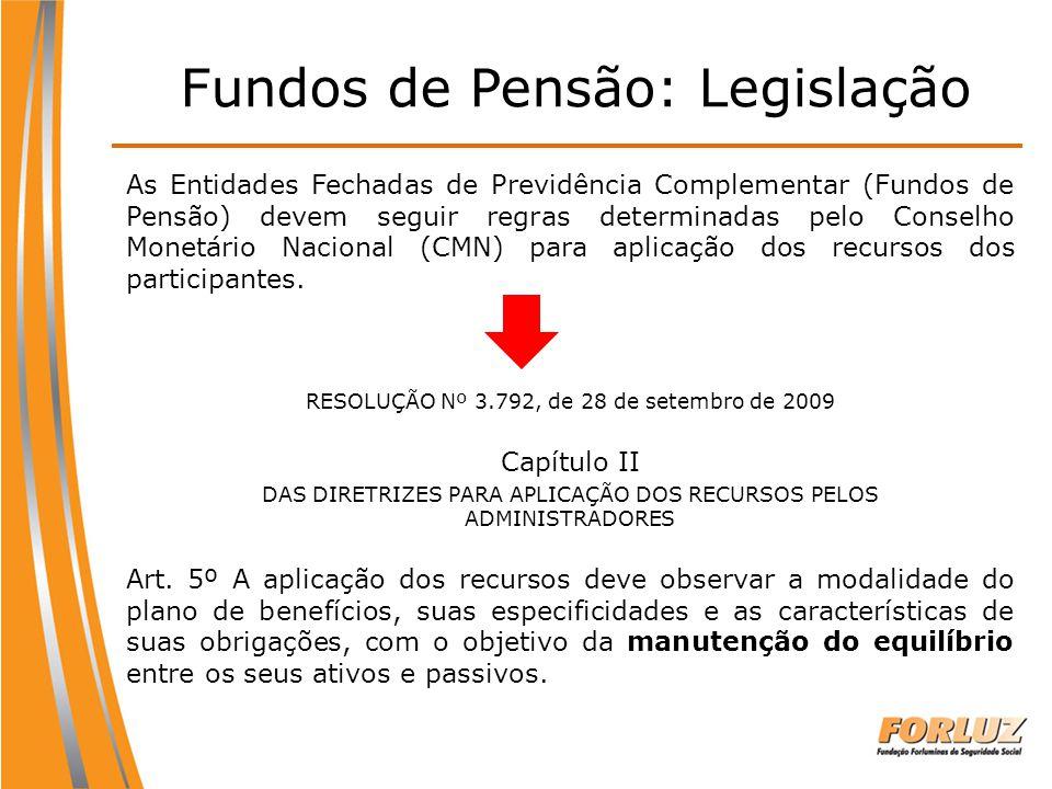 Fundos de Pensão: Legislação As Entidades Fechadas de Previdência Complementar (Fundos de Pensão) devem seguir regras determinadas pelo Conselho Monet