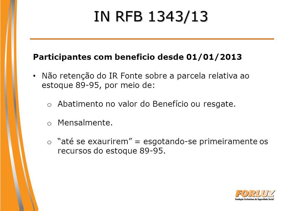 IN RFB 1343/13 Participantes com beneficio desde 01/01/2013 Não retenção do IR Fonte sobre a parcela relativa ao estoque 89-95, por meio de: o Abatime