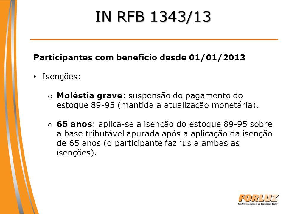 IN RFB 1343/13 Participantes com beneficio desde 01/01/2013 Isenções: o Moléstia grave: suspensão do pagamento do estoque 89-95 (mantida a atualização