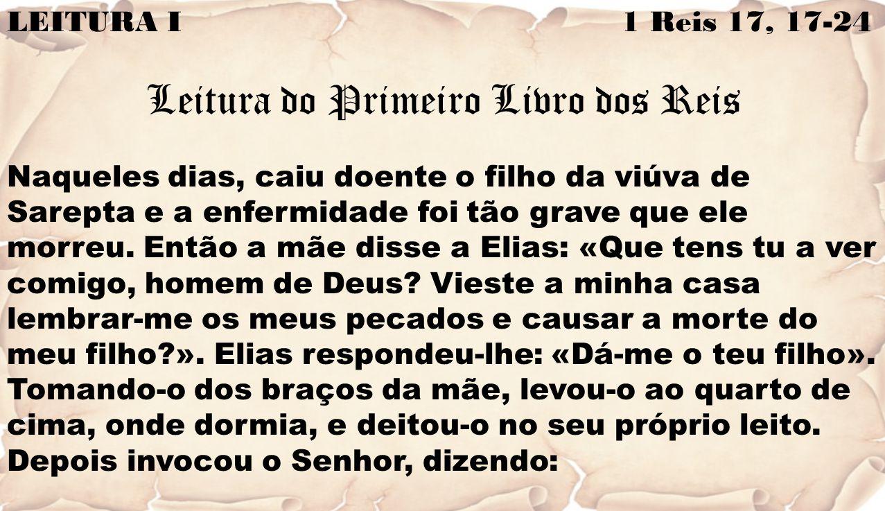 LEITURA I 1 Reis 17, 17-24 Leitura do Primeiro Livro dos Reis Naqueles dias, caiu doente o filho da viúva de Sarepta e a enfermidade foi tão grave que