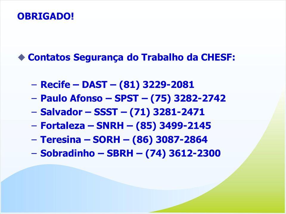 OBRIGADO! Contatos Segurança do Trabalho da CHESF: –Recife – DAST – (81) 3229-2081 –Paulo Afonso – SPST – (75) 3282-2742 –Salvador – SSST – (71) 3281-
